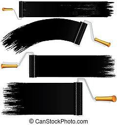 Black Roller Brush on White Background. Vector