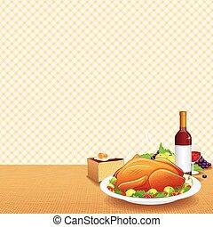 Roasted Turkey on Decorated Table