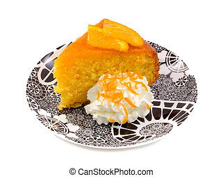 Moist Orange Cake - Moist orange cake with cream over white...