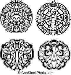 Symmetrical knot patterns. Set of black and white vector...