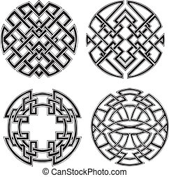 Symmetrical round knot patterns. Set of black and white...