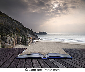 Creative concept pages of book Porthcurno yellow sand beach...