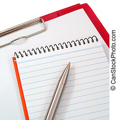 Pen, notepad and clipboard - pen, notepad and clipboard on...