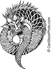 oriental legless dragon - Oriental legless dragon Black and...