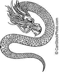 chinese dragon - Oriental legless dragon. Black and white...