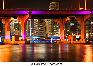 MacArthur Causeway Bridge at night - Bridge across the...