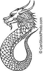 cute oriental dragon - Oriental legless dragon. Black and...