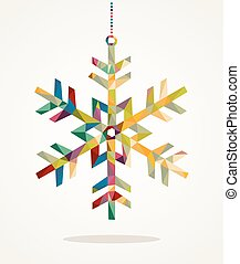 Merry Christmas trendy snowflake made with colorful triangles composition. EPS10 vector file organized in layers for easy editing.