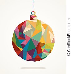Merry Christmas trendy circle bauble made with colorful triangles composition. EPS10 vector file organized in layers for easy editing.