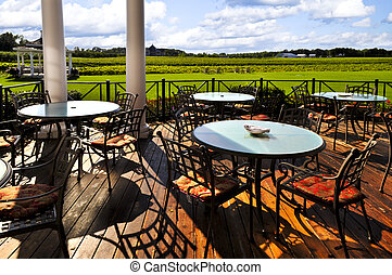 Patio overlooking vineyard - Patio chairs and tables near...