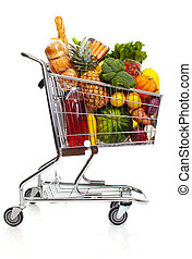 Full grocery cart. - Full shopping grocery cart. Isolated on...