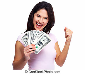 Woman holding money - Happy young smiling woman holding...