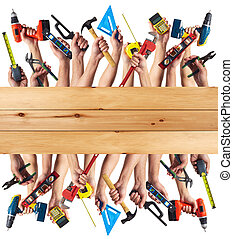 Hands with DIY tools - DIY tools set collage Isolated on...