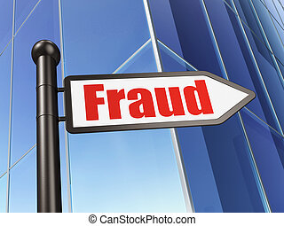Protection concept: Fraud on Building background