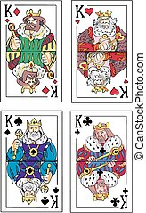 Playing cards. Kings. Set of color vector illustrations.