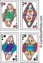 Playing cards. Queens. Set of color vector illustrations.