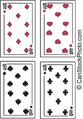 Playing cards. Tens