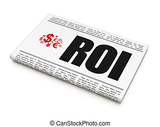 Finance news concept: newspaper with ROI and Finance Symbol...