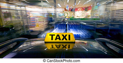 Taxi Ram Raid - A taxi at high speed closing in on a night...