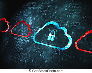 Cloud technology concept: pixelated Cloud With Padlock icon on digital background, 3d render