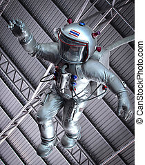 The astronaut  under roof in museum