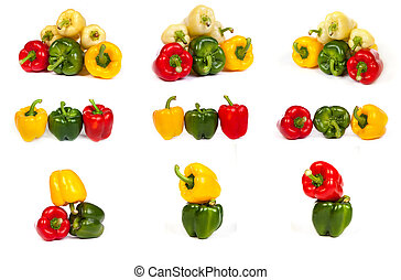 set of seet bell peppers isolated on white - set of seet...