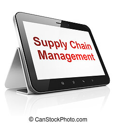 Advertising concept: black tablet pc computer with text Supply Chain Management on display. Modern portable touch pad on White background, 3d render