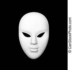 Carnival mask - White carnival mask on black isolated...