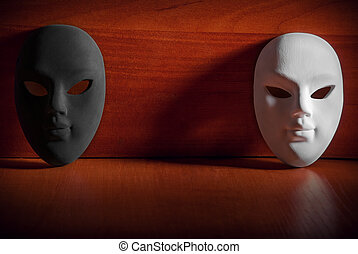 Carnival mask - Black and white carnival mask on a wooden...