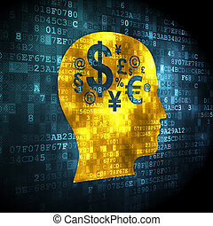 Education concept: pixelated Head With Finance Symbol icon...
