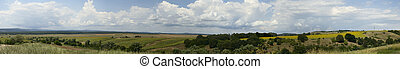 Panorama of Bulgarian fields - Panorama of mountains and...