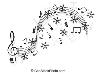 Music Treble clef and notes with snowflake for your design