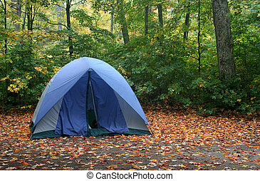 Autumn Camping - A tent sitting in a campsite in early...