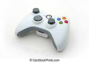 White Video Game Controller on White - Isolated White...