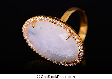 Moonstone and Diamond Gold Ring - Moonstone and gold diamond...