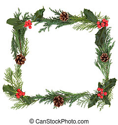 Christmas Border - Christmas border with holly, cedar leaf...