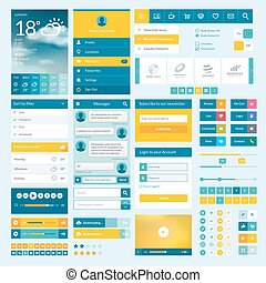 Set of flat web elements, icons and buttons for mobile app...
