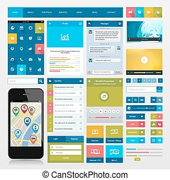 Flat icons and ui web elements for mobile app and website...