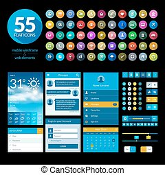 Set of flat design ui elements and icons for mobile app and...
