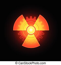 Red Glowing Radioactivity Sign
