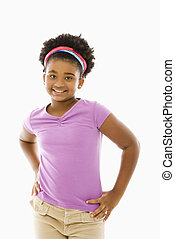 African American girl. - African American girl with hands on...