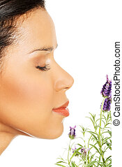 Beautiful girl smell lavender flowers - Beautiful girl smell...