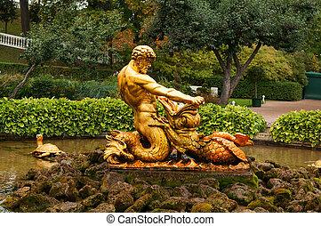 fontaine, statue, triton