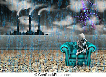 Memory - Human skeleton with factory and pouring rain