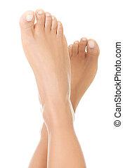 Beautiful caucasian woman feet.