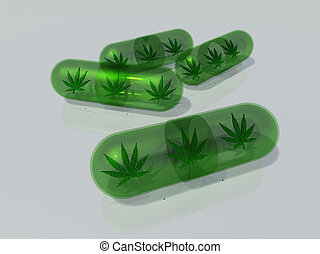 Medical Marijuana - Marijuana leaf in capsule