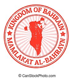 Bahrain stamp - Grunge rubber stamp with the name and map of...