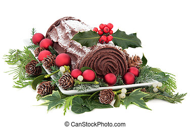 Yule Log - Christmas chocolate yule log cake with red...
