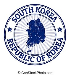 South Korea stamp - Grunge rubber stamp with the name and...
