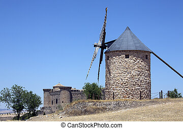Belmonte - La Mancha - Spain - A windmill near the medieval...